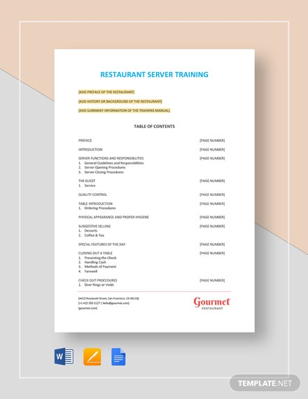 Restaurant Server Training Template