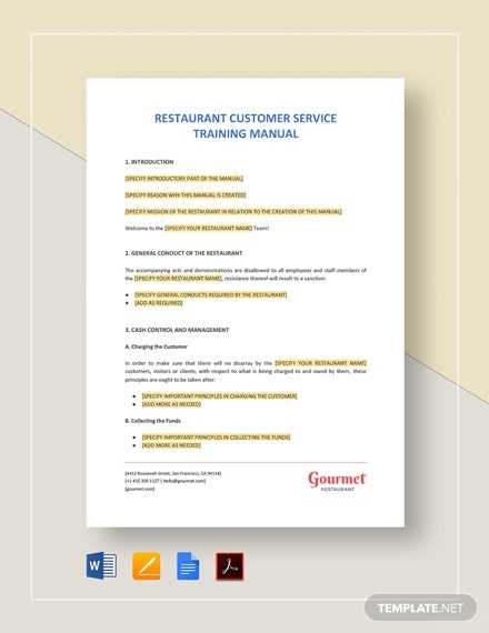 Restaurant Customer Service Training Manual Template