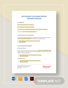 Restaurant Customer Service Training Manual Template