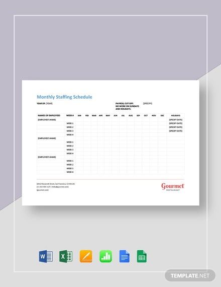Restaurant Monthly Staffing Schedule Template
