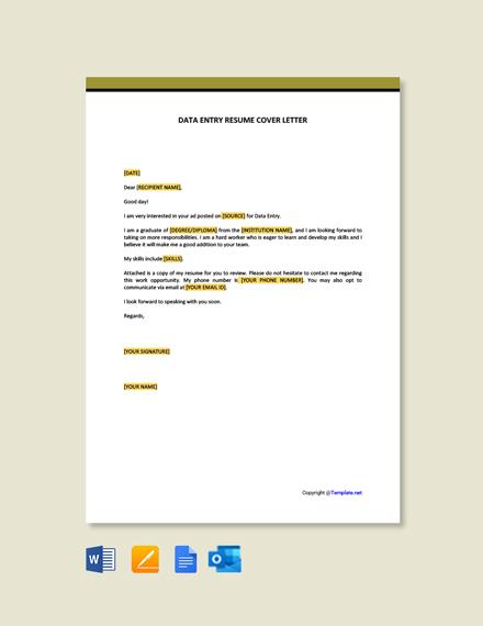 Data Entry Resume Cover Letter