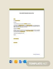 Free Data Entry Resume Cover Letter Template