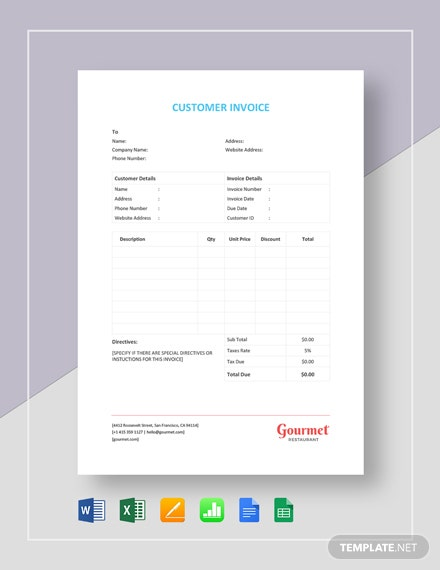 Customer Invoice Template