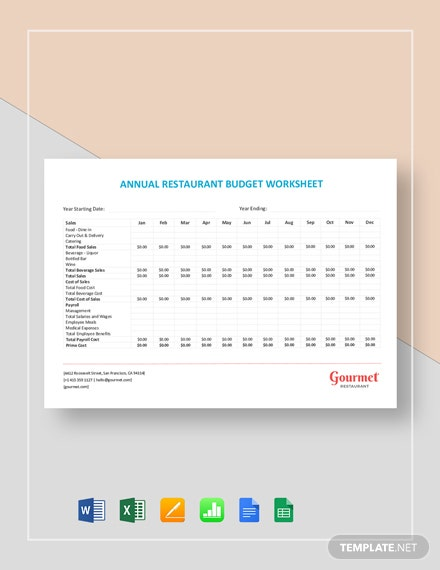 Annual Restaurant Budget Worksheet Template