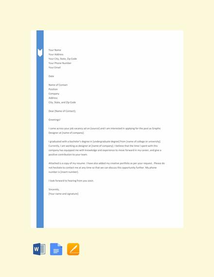 Free Designer Resume Cover Letter Template