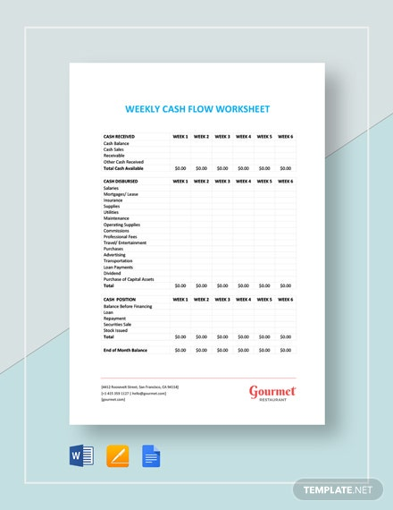 Weekly Cash Flow Worksheet Template