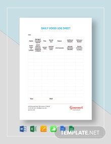 Daily Voids Log Sheet Template