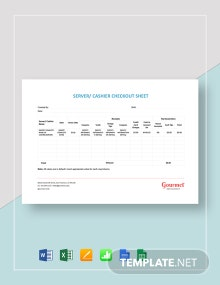 Server/Cashier Checkout Sheet Template