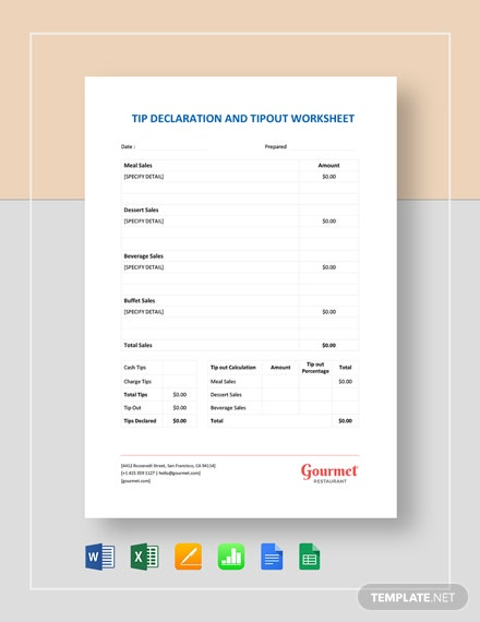 Tip Declaration and Tip Out Worksheet Template