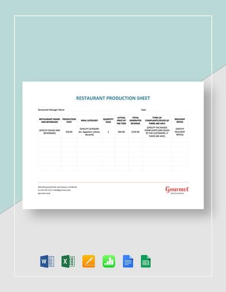 Restaurant Production Sheet