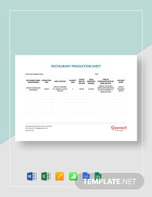 Restaurant Production Sheet Template