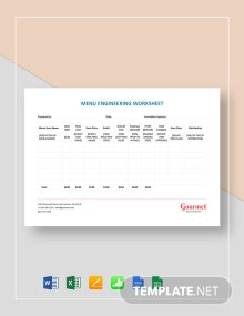 Restaurant Menu Engineering Worksheet Template