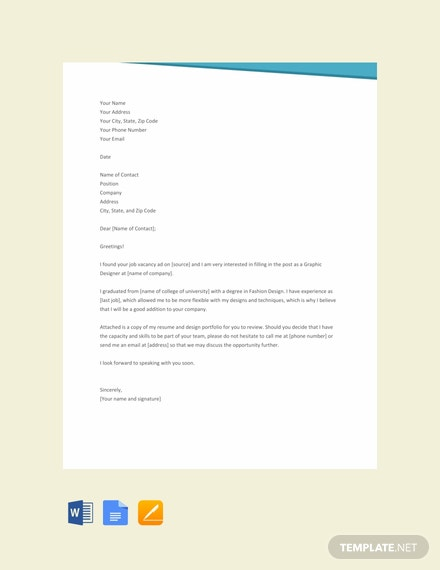Free Fashion Designer Resume Cover Letter Template