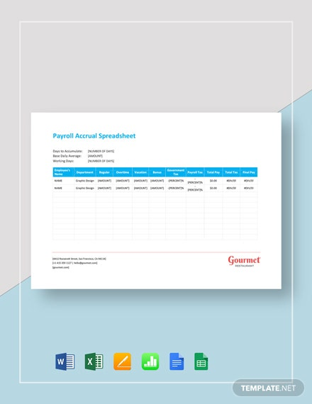 Payroll Accrual Spreadsheet Template