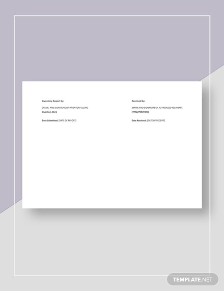 Product Inventory Usage Report Template