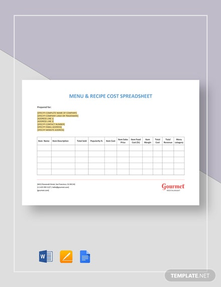 Menu & Recipe Cost  Spreadsheet Template