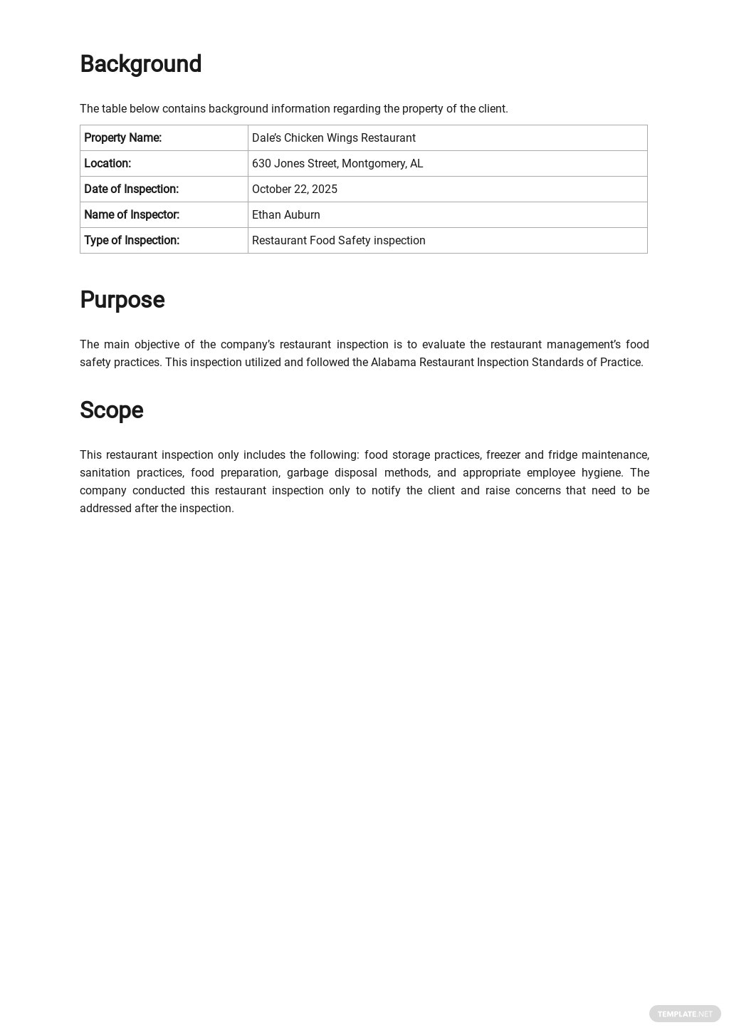 Restaurant Inspection Report Template 1.jpe