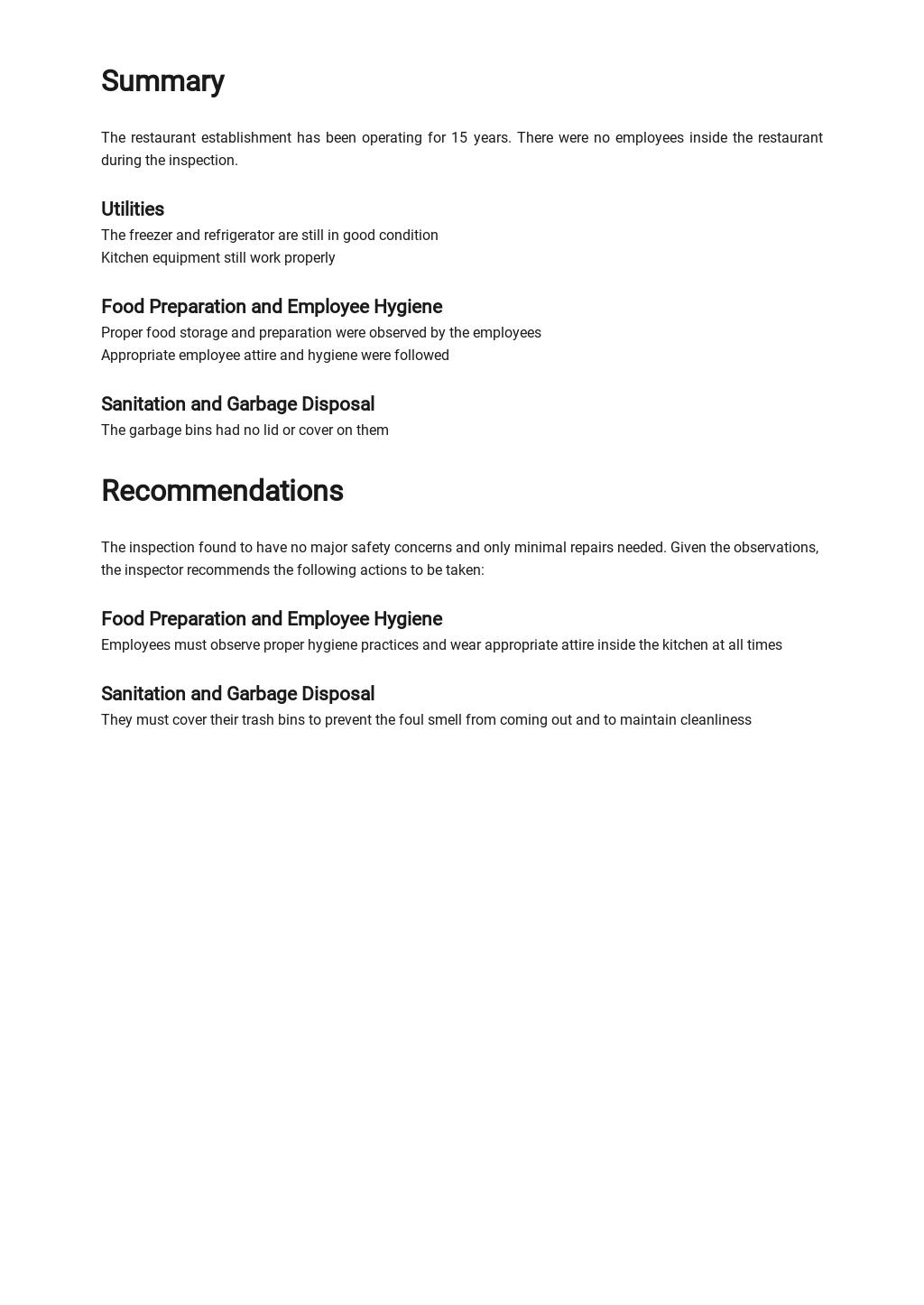 Restaurant Inspection Report Template 2.jpe