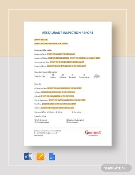 Restaurant Inspection Report Template