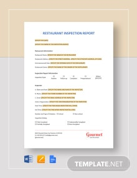 Restaurant Inspection Report Template