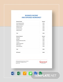 Business Income & Expenses Worksheet Template