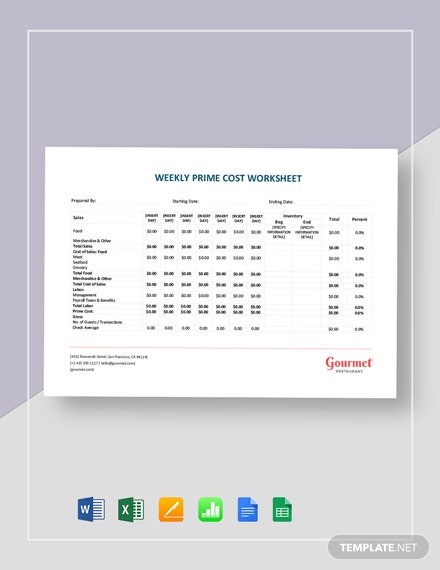 Weekly Prime Cost Worksheet Template