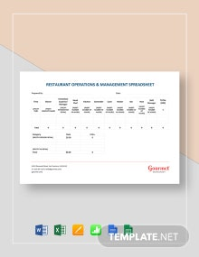 Restaurant Operations & Management Spreadsheet Template