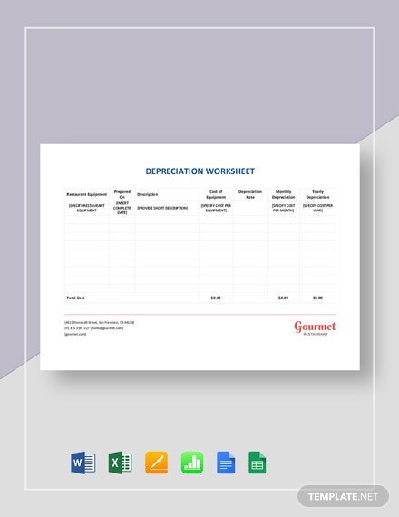 Restaurant Depreciation Worksheet Template