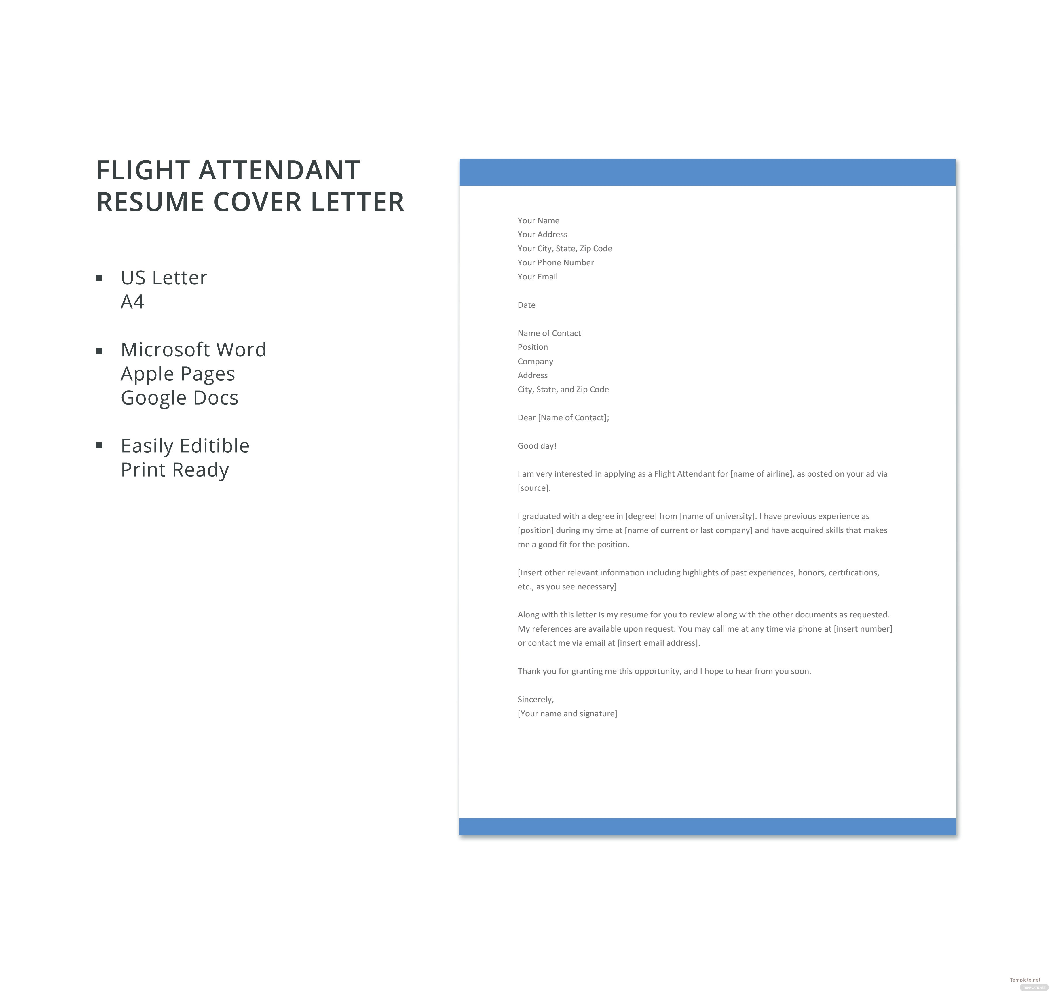 Free Flight Attendant Resume Cover Letter Template in Microsoft Word ...