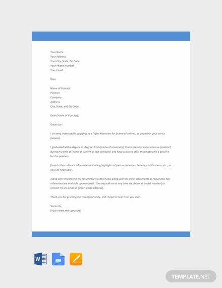 Free Flight Attendant Resume Cover Letter Template