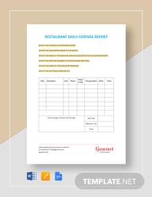 Restaurant Daily Expense Report Template
