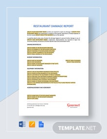 Restaurant Damage Report Template