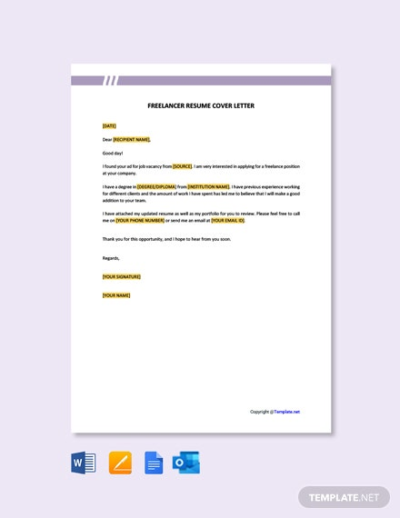 Freelancer Resume Cover Letter Template