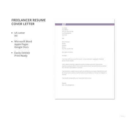 Free Freelancer Resume Cover Letter Template