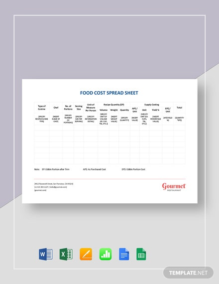 Restaurant Food Cost Spreadsheet Template Word Excel