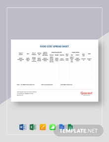 Restaurant Food Cost Spreadsheet Template