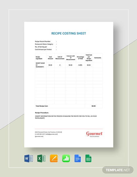 Restaurant Recipe Costing Sheet Template