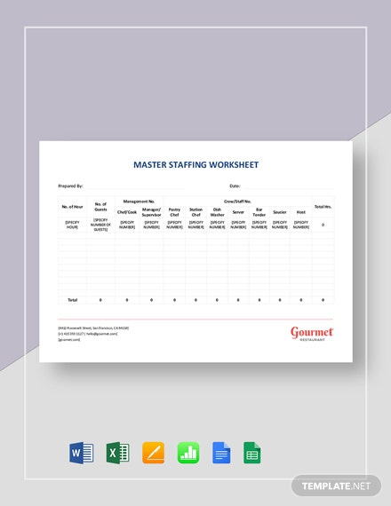 Restaurant Master Staffing Worksheet Template