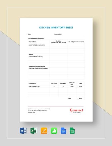 Restaurant Kitchen Inventory Sheet
