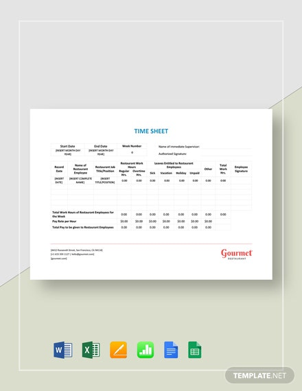 Restaurant Time Sheet Template