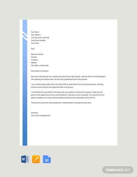 Free High School Resume Cover Letter Template