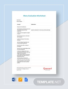 Menu Evaluation Worksheet Template