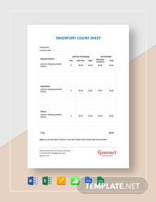 Restaurant Inventory Count Sheet Template