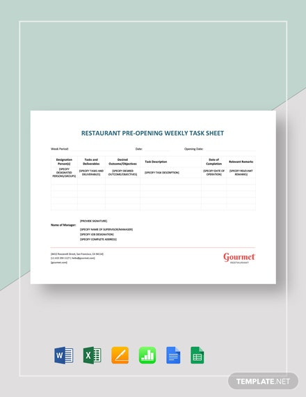 Restaurant Preopening Weekly Task Sheet Template