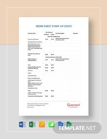 Restaurant Worksheet Start-Up Costs Template