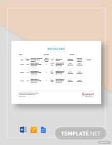 Wastage Sheet Template