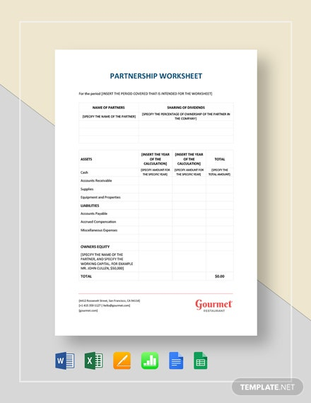 Restaurant Partnership Worksheet Template
