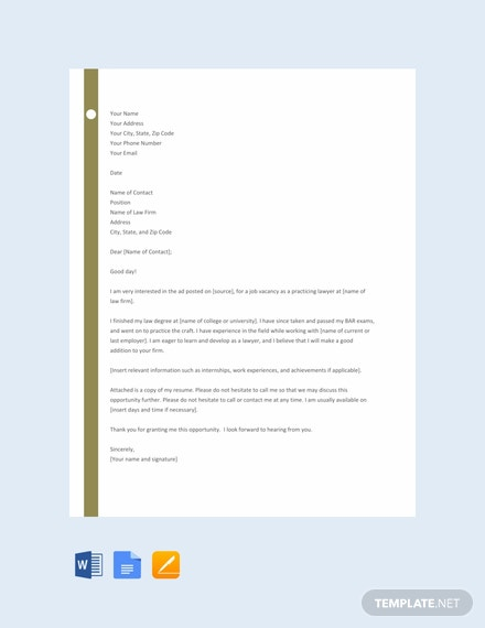 Free Lawyer Resume Cover Letter Template