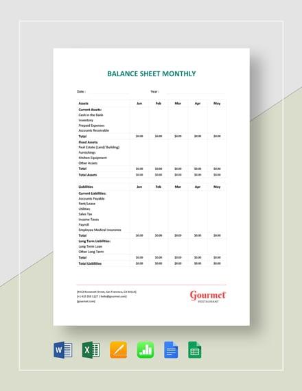 Restaurant Balance Sheet Monthly