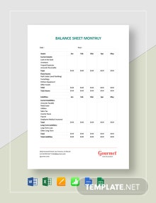 Restaurant Balance Sheet Monthly Template